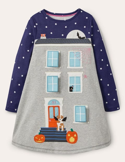 Halloween Lift-the-flap Dress - Starboard Blue Haunted House