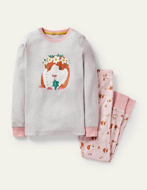 Snug Long John Pajamas - Dusty Pink Guinea Pigs