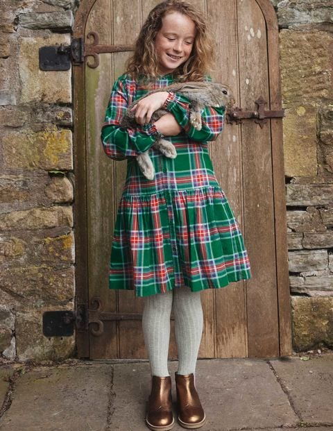 Relaxed Woven Check Dress
