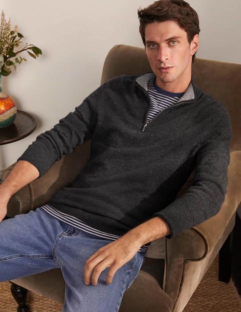 Cashmere Half-Zip - Dark Grey Melange