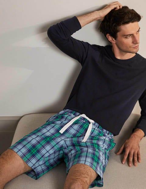 Schlafanzugshorts aus Baumwollpopeline - Himmelblau/Sattes Smaragdgrün, Kariert