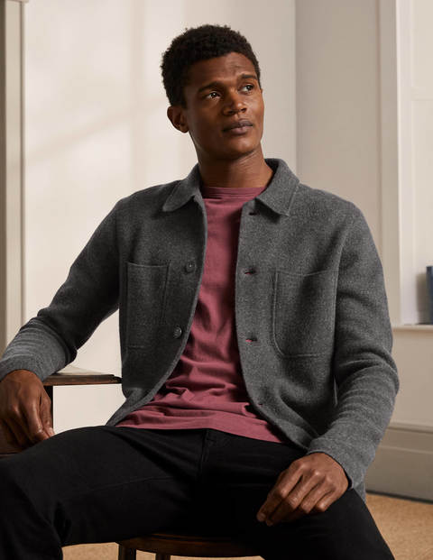 Farley Merino Knitted Jacket - Charcoal Melange