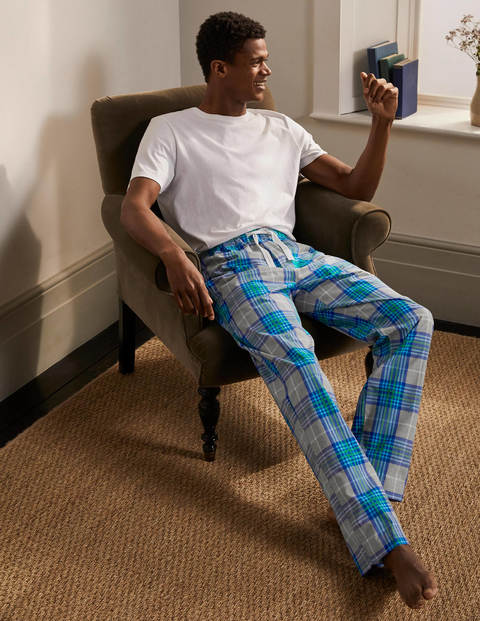 Cotton Poplin Pyjama Bottoms - Grey Marl/Electric Blue Check