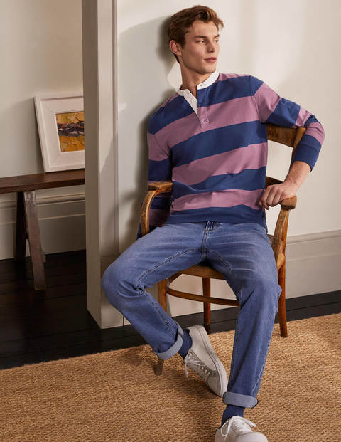 Grandad Collar Rugby Shirt - Navy Blue/Dusky Mauve Stripe