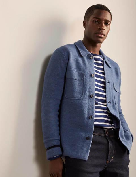 Haddon Merino Knitted Jacket - Blue Steel