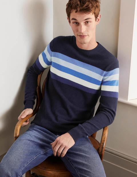 Cashmere Crew Neck - Blues Colourblock Stripe