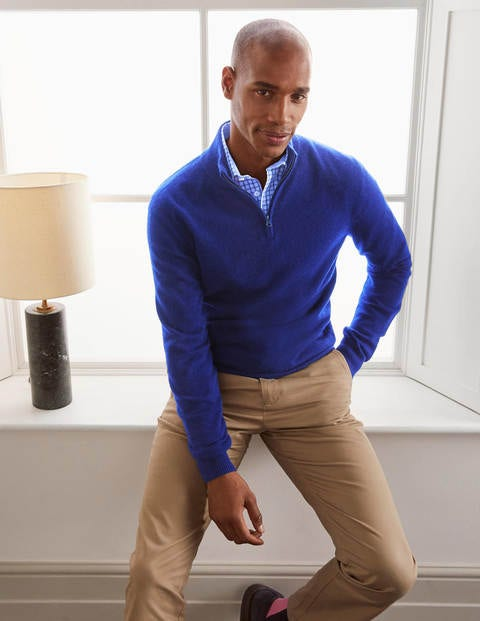 Cashmere Half-Zip - Greek Blue Melange