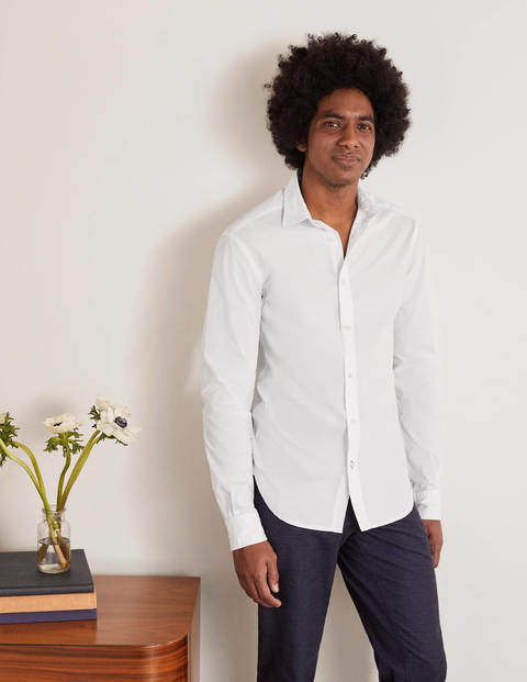 Slim Fit Poplin Cutaway Collar - White