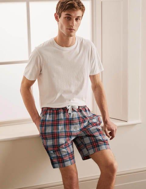 Brushed Cotton Pyjama Shorts - Grey Marl Multi Check