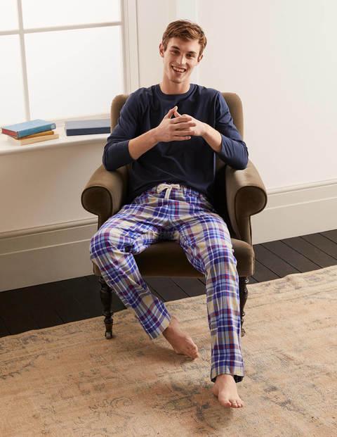 Pyjamahose aus gebürsteter Baumwolle - Griechisches Blau/Grau Meliert, Kariert