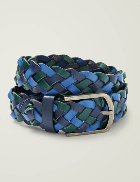Leather Plaited Belt - Blues Multi