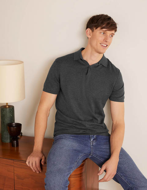 Finsbury Knitted Polo - Charcoal Melange