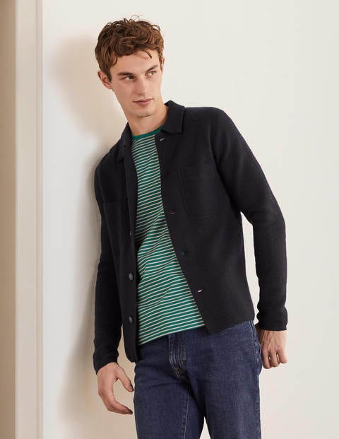 Farley Merino Knitted Jacket - Navy