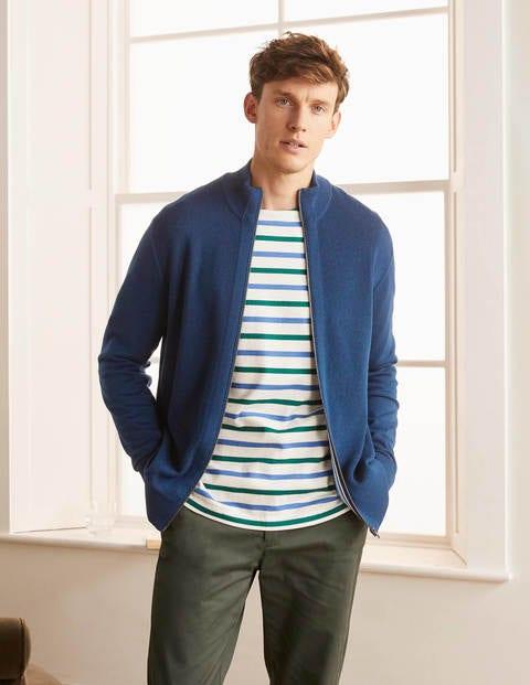 Veste zippée Bury en laine mérinos - Bleu marine clair