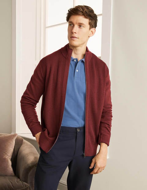 Bury Merino Zip Through Jacket - Merlot Red