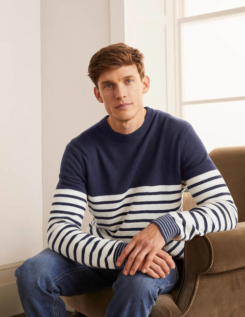 Statement Crew Neck - Navy Stripe