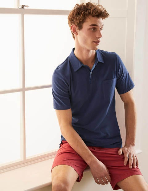 Sueded Jersey Polo - Navy Blue