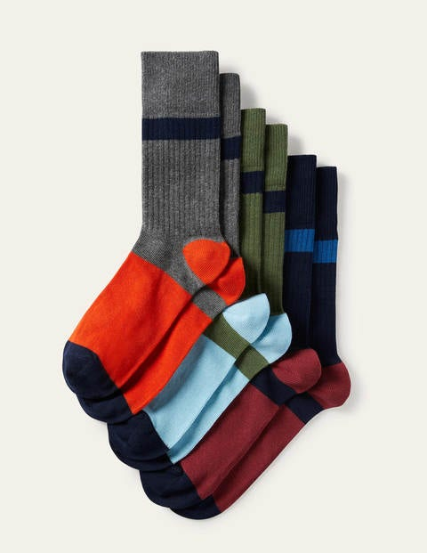 Favourite Ribbed Socks - Mixed Colourblock Pack