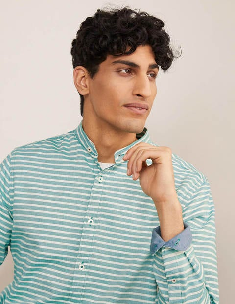 Herringbone Grandad Shirt - Forest Green