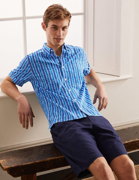 Printed Short Sleeve Shirt - Regal Blue Tropical Stripe