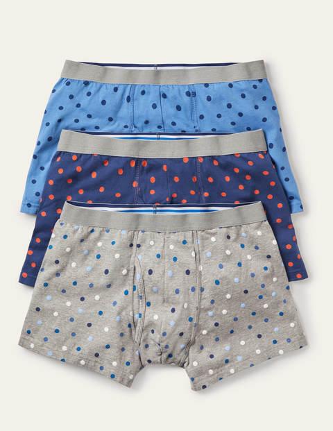 Jersey-Boxershorts im 3er-Pack - Blautöne, Bunt/Getupft, Set