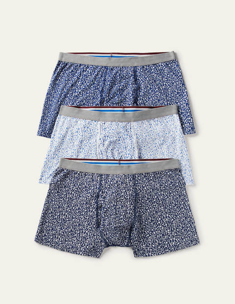 3 Pack Jersey Boxers - Blues Woodland Floral Pack