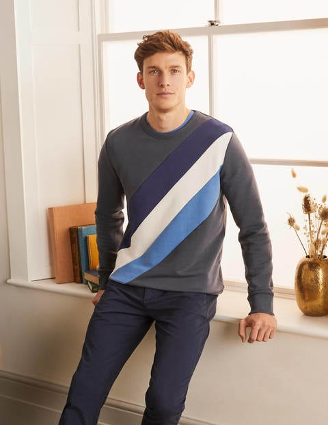 Irvine Interest Sweatshirt - London Grey/Blues Stripe