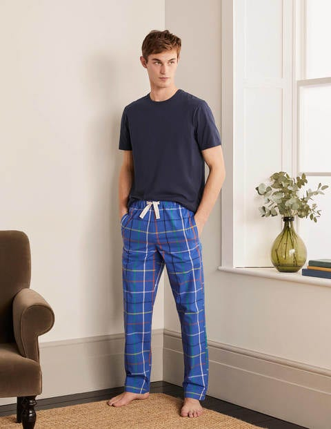 Cotton Poplin Pajama Bottoms - Electric Blue Multi Tattersall