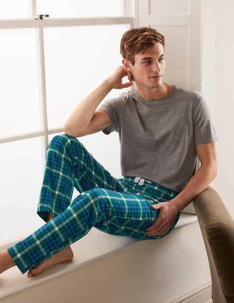 Brushed Cotton Pyjama Bottoms - Greenery/Riviera Check