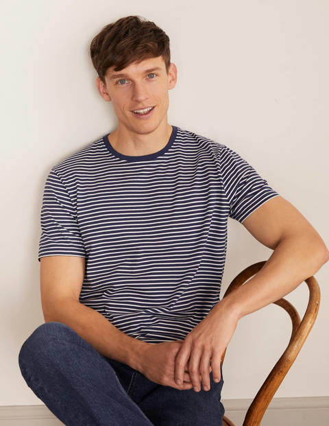 Washed T-shirt - Navy/Ivory Stripe
