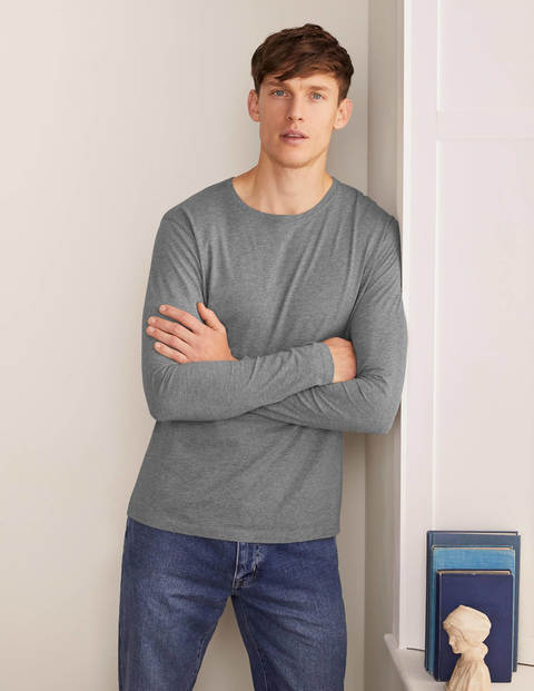 Long Sleeve Washed T-shirt - Grey Marl