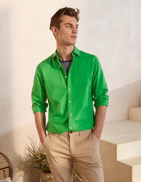 Linen Cotton Shirt - Bright Green