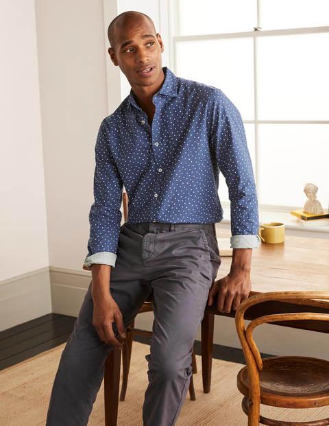 Slim Fit Spot Shirt - Navy Blue Spot