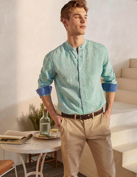 Linen Grandad Shirt - Rich Emerald/Coastal Stripe