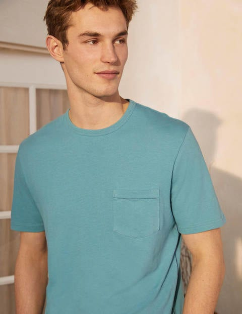 T-Shirt aus Leinenmischgewebe - Ritterspornblau