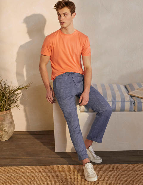 Relaxed Linen Blend Trousers - Dark Denim Chambray
