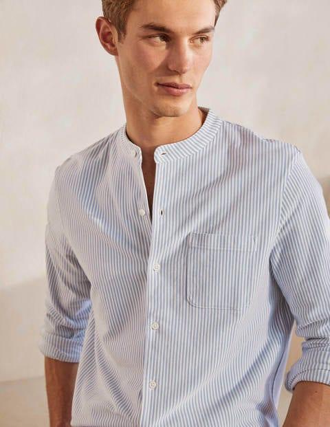 Piqué-Hemd mit Grandad-Kragen - Hellblau, Schneeflockenstreifen