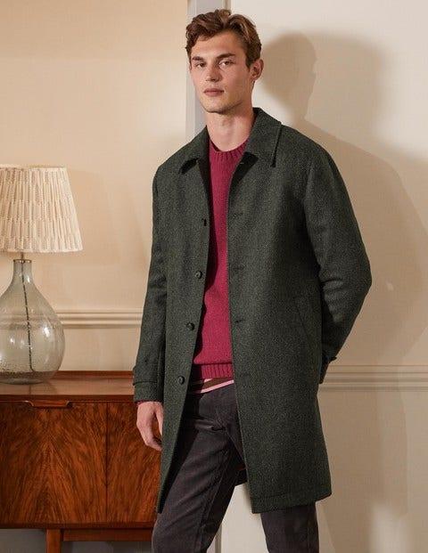 Eldon British Tweed Overcoat - Richmond Green Herringbone