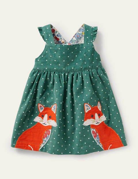 Spotty Appliqué Cord Pinnie - Sardinia Green Foxes