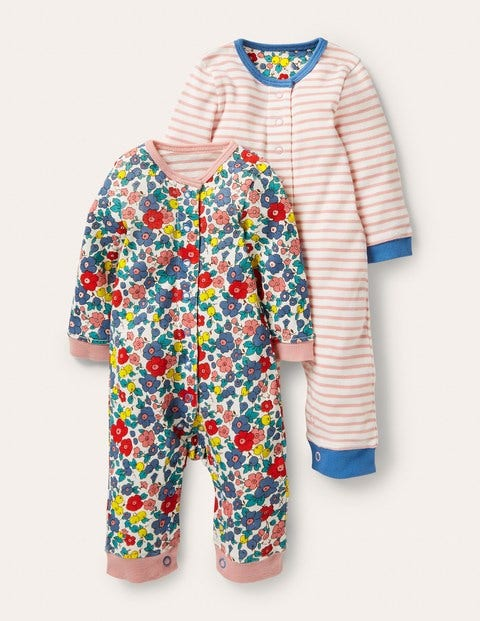Twin Pack Rompers - Multi Sky Apple Blossom