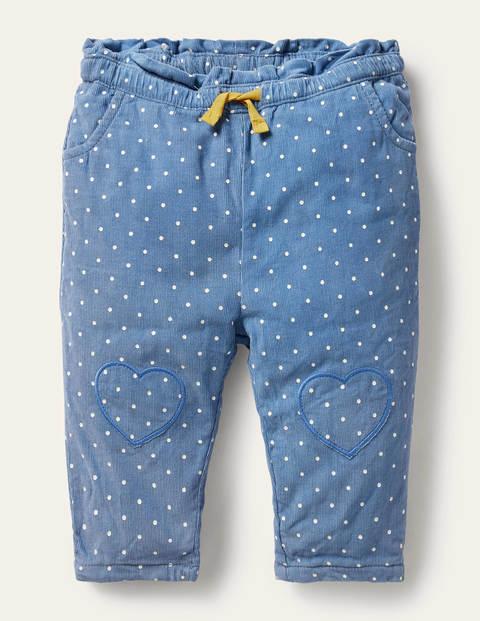 Pantalon à pois en velours côtelé