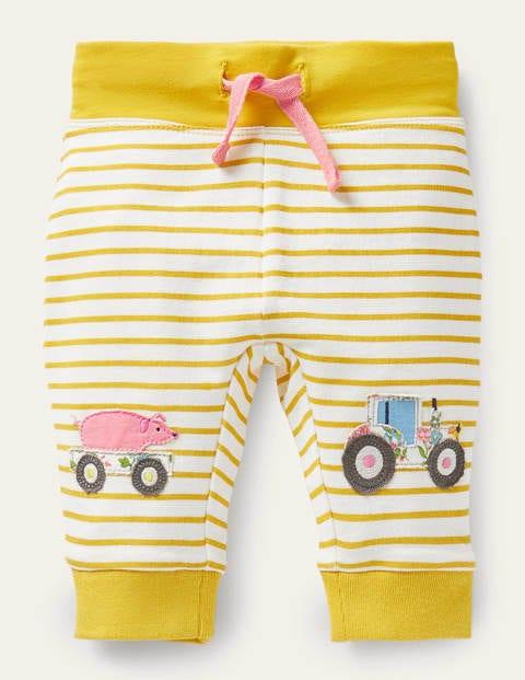 Appliqué Knee Jersey Bottoms - Ivory/Sweetcorn Yellow Farm