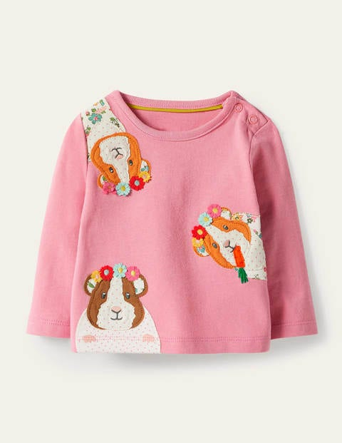 Guinea Pig Appliqué T-shirt - Formica Pink Guinea Pigs