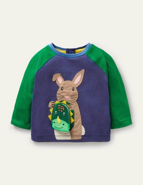 Lift-the-flap Raglan T-shirt - Starboard Blue Bunny