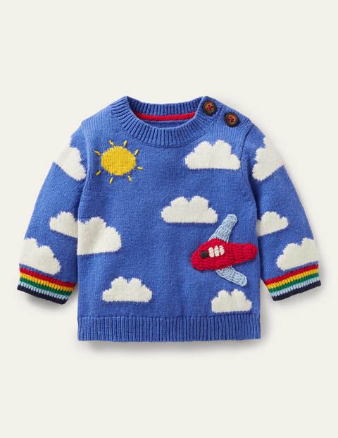 Fun Knitted Jumper - Elizabethan Blue Plane