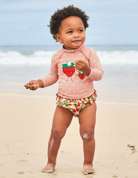 Rash Guard Set - Boto Pink Ditsy Strawberries