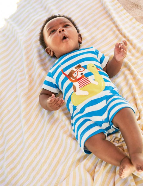 Short Jersey Romper - Ivory/Moroccan Blue Sprout