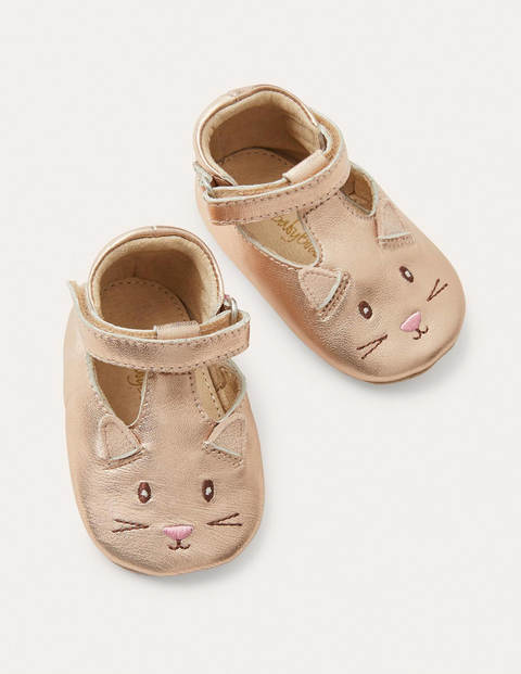 Fun Leather Baby Shoes - Rose Gold Cat