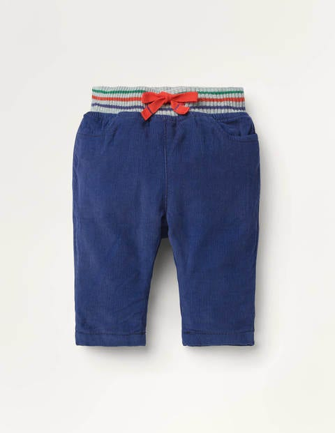 Rib Waist Lined Cord Trousers - Starboard Blue