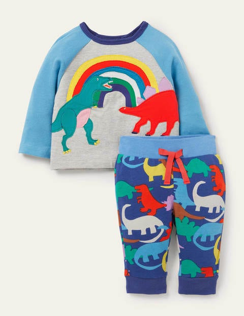 Appliqué Jersey Play Set - Multi Dino Rainbow Scene